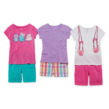 jcpenney.com | Okie Dokie® Tee, Gingham Shorts or Bermuda Shorts - Toddler Girls 2t-5t