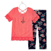 Self Esteem® 3-pc. Lace Top and Print Legging Set With Necklace - Girls 7-16 and Plus
