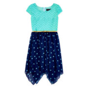Disorderly Kids® Navy Cap-Sleeve Sharkbite Dress - Girls 7-16