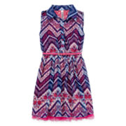 Knit Works® Sleeveless Pink and Navy Chevron Dress - Girls 7-16