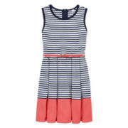 Knit Works Navy Coral Stripe Skater Dress - Girls 7-16