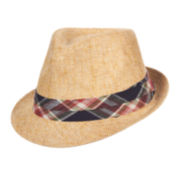 St. John's Bay® Straw Fedora With Plaid Trim