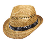 Arizona Open Weave Fedora With Tropical Trim