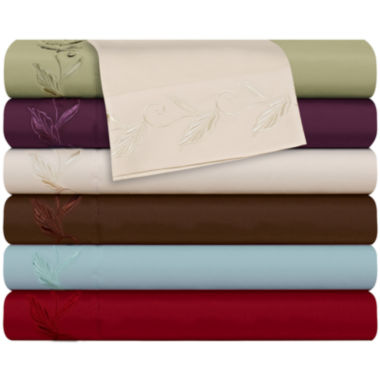 jcpenney.com | Cathay Home Leaf Embroidered Microfiber Sheet Set