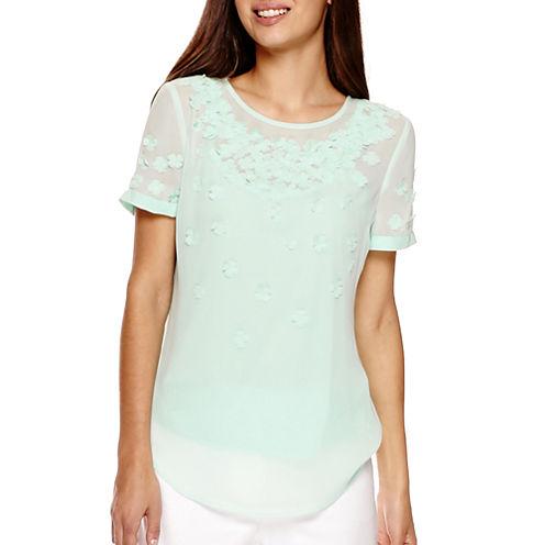 Liz Claiborne® Short-Sleeve 3D Floral Blouse - Petite