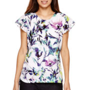Liz Claiborne® Flutter Short-Sleeve Floral Blouse