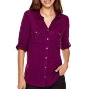 Liz Claiborne® 3/4-Sleeve Jersey Button-Front Shirt - Petite