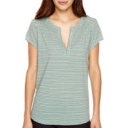 Liz Claiborne® Short-Sleeve Split-Neck Henley T-Shirt - Petite