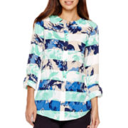 Liz Claiborne® Long-Sleeve Roll-Cuff Floral Striped Blouse
