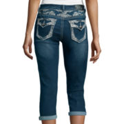 Love Indigo Yoked Back Flap Pocket Capris