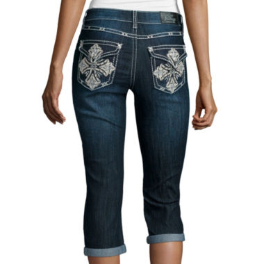 jcpenney.com |  Love Indigo Bling Cross Back Pocket Capris