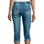 Love Indigo Cross Flap Back Pocket Capris