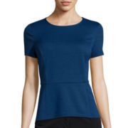 Liz Claiborne® Jacquard High-Low Peplum Knit Top