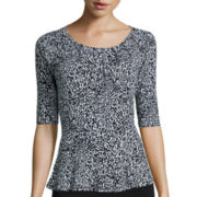 Liz Claiborne® Elbow-Sleeve Peplum Knit Top