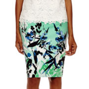 Liz Claiborne® High-Waist Floral Pencil Skirt