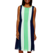 Liz Claiborne® Sleeveless Colorblock Pleated Dress