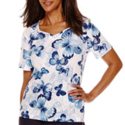 Alfred Dunner® Short-Sleeve Butterfly Print Top