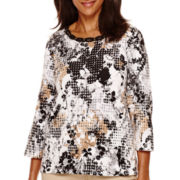 Alfred Dunner® 3/4-Sleeve Floral Dot Print Top