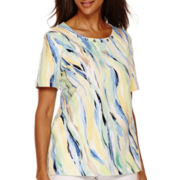 Alfred Dunner® Short-Sleeve Brushstroke Printed Top