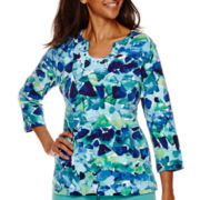 Alfred Dunner® 3/4-Sleeve Tile Printed Top