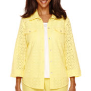 Alfred Dunner® Weekend Getaway 3/4-Sleeve Eyelet Layer Shirt