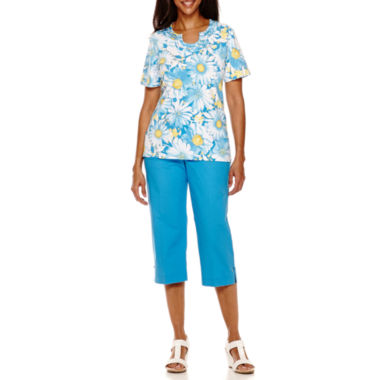 jcpenney.com | Alfred Dunner® Weekend Getaway Short-Sleeve Novelty Neck Top or Capris