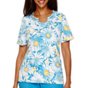 Alfred Dunner® Weekend Getaway Short-Sleeve Novelty Neck Top