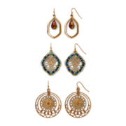 Decree®. Open Work Metal 3-pr. Bead Earring Set