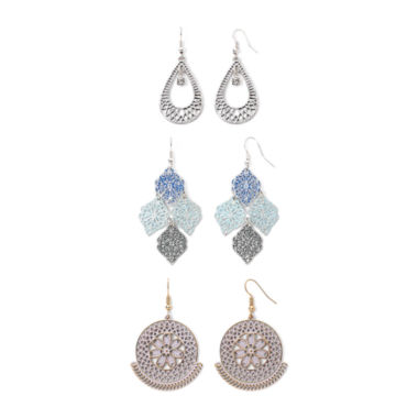jcpenney.com | Decree® Open Work 3-pr. Teardrop Earring Set