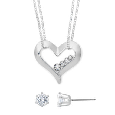 jcpenney.com | Mixit Cubic Zirconia Silver-Tone Heart Earring and Necklace Set