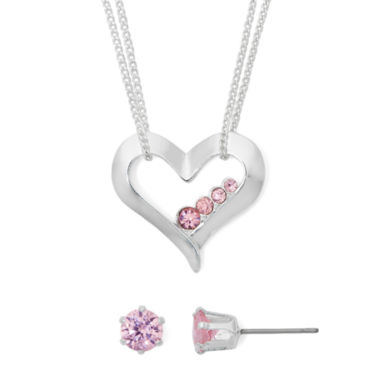 jcpenney.com | Mixit Pink Cubic Zirconia Silver-Tone Heart Earring and Necklace Set