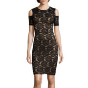 Bisou Bisou® Cold-Shoulder Lace Sheath Dress