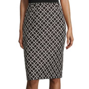 Black Label by Evan-Picone Circle Geo-Print Pencil Skirt
