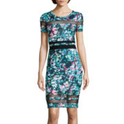 BELLE + SKY™ Short-Sleeve Mesh Detail Bodycon Dress