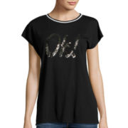 i jeans by Buffalo Short-Sleeve Sequin Top
