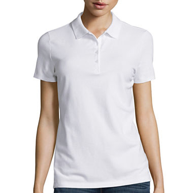 St john 39 s bay short sleeve polo shirt tall jcpenney for Jcpenney ladies polo shirts