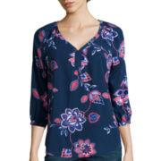 St. John's Bay® 3/4-Sleeve V-Neck Woven Blouse - Tall