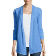 St. John's Bay® 3/4 Length Sleeve Flyaway Cardigan Sweater