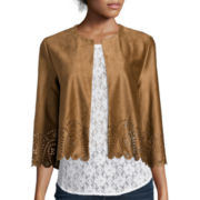 Stylus™ Laser Cut Faux-Suede Cropped Jacket