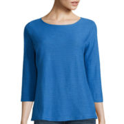 Liz Claiborne® 3/4-Sleeve Shadow Striped T-Shirt
