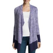 Liz Claiborne® Long-Sleeve Marled Knit Cascade Cardigan