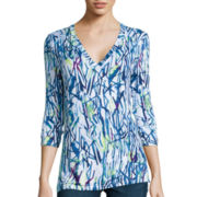 Liz Claiborne® 3/4-Sleeve Printed Top
