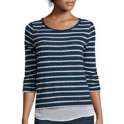 Liz Claiborne® 3/4-Sleeve Stripe Layered Pullover Shirt