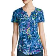 Liz Claiborne® Flutter-Sleeve Floral Knit T-Shirt