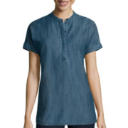 Liz Claiborne® Short-Sleeve Cuffed Dolman Denim Tunic