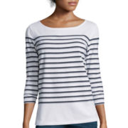 Liz Claiborne® 3/4-Sleeve Button-Back Striped T-Shirt