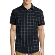 JF J. Ferrar® Short-Sleeve Windowpane Woven Button-Front Shirt