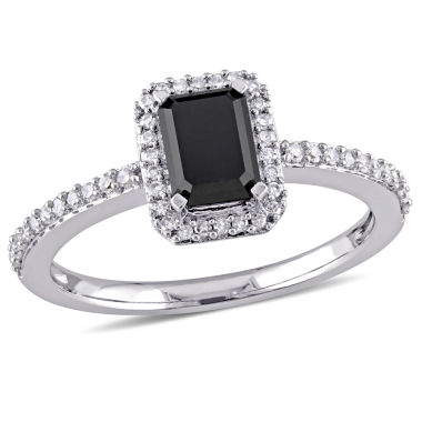 jcpenney.com | Midnight Black Womens 1 1/5 CT. T.W. Emerald Black Diamond 10K Gold Engagement Ring