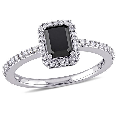 Midnight Black Womens 1 1/5 CT. T.W. Emerald Black Diamond 10K Gold Engagement Ring