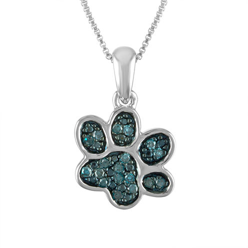 Womens 1/10 CT. T.W. Blue Diamond Sterling Silver Pendant Necklace